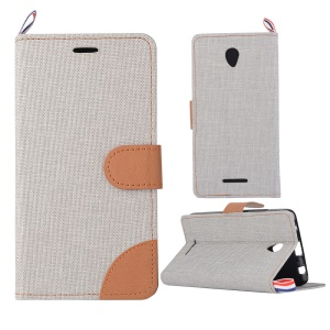 Jeans Cloth Skin Leather Stand Cover Case for Lenovo A5000 5.0-inch - Light Grey