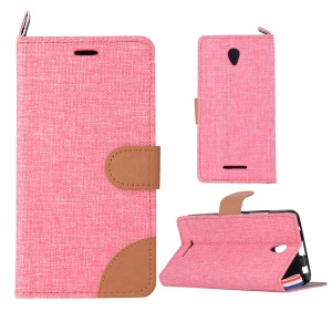 Jeans Cloth Skin PU Leather Card Holder Case for Lenovo A5000 5.0-inch - Pink