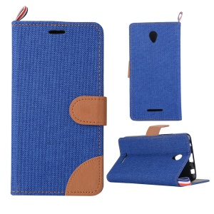 Jeans Cloth Skin Leather Card Slot Stand Cover for Lenovo A5000 5.0-inch - Dark Blue