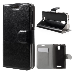 Crazy Horse Leather Card Holder Case for Lenovo A1000 - Black