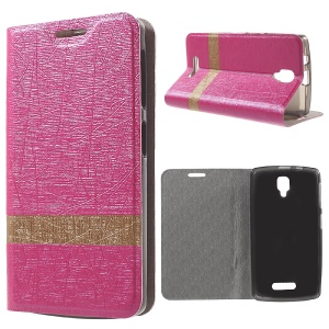 Lines Grain Leather Cover for Lenovo A1000 with Stand - Rose