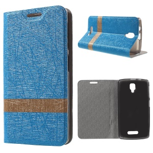 Lines Grain Leather Flip Shell for Lenovo A1000 with Stand - Baby Blue