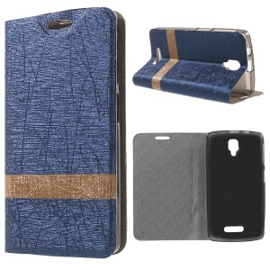 Lines Grain Leather Stand Case Shell for Lenovo A1000 - Dark Blue