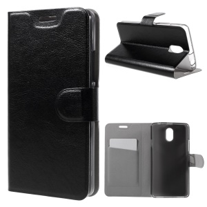 Crazy Horse Leather Card Holder Case for Lenovo Vibe P1m - Black