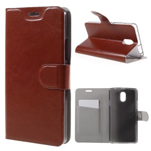 Crazy Horse Leather Card Holder Cover for Lenovo Vibe P1m - Brown