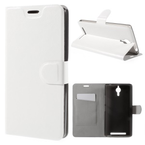 Crazy Horse Phone Leather Stand Cover for Lenovo P90 - White