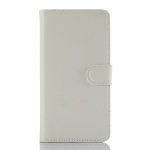 Litchi Leather Wallet Case for Lenovo Golden Warrior S8 Play A5600 A5860 - White