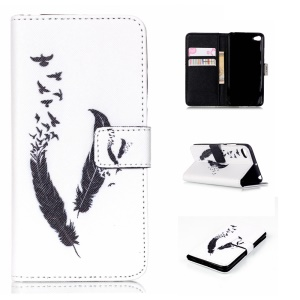 Stand Protective Leather Case for Lenovo Sisley S90 - Feather and Bird
