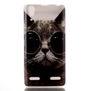 Soft IMD TPU Back Case for Lenovo A6000/A6000 Plus/ A6010/A6010 Plus - Adorable Cat Wearing Glasses