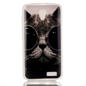 Soft IMD TPU Case Cover for Lenovo A319 - Adorable Cat Wearing Glasses
