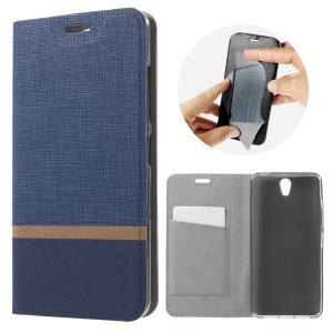 Contrast Color Steel Sheet Leather Shell Stand for Lenovo Vibe S1 - Blue