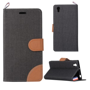 Denim Fabric Skin Leather Case Stand Cover for Lenovo P70 - Black