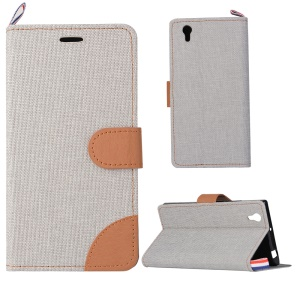 Denim Fabric Skin Leather Protective Cover for Lenovo P70 - Light Grey