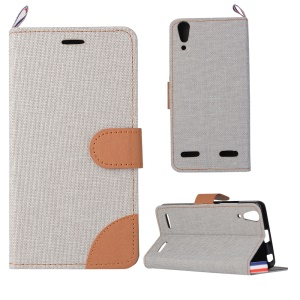 Jeans Cloth Skin PU Leather Case for Lenovo A6000/A6000 Plus/ A6010/A6010 Plus/ K3 Music Lemon - Light Grey