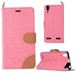 Jeans Cloth Skin PU Leather Flip Case for Lenovo A6000/A6000 Plus/ A6010/A6010 Plus/ K3 Music Lemon - Pink
