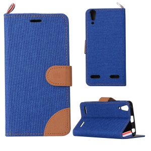 Jeans Cloth Skin Stand Leather Cover for Lenovo A6000/A6000 Plus/ A6010/A6010 Plus - Dark Blue