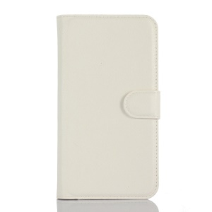 Litchi Leather Wallet Shell for Lenovo A1000 with Stand - White