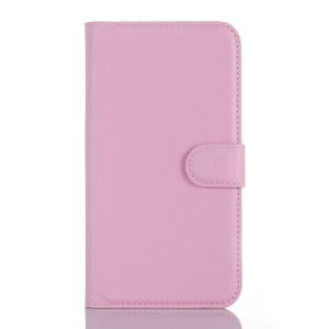 Litchi Leather Wallet Shell for Lenovo A1000 with Stand - Pink