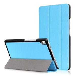 For Lenovo Tab 4 8 Plus (TB-8704F/N) Smart Tri-fold Stand Leather Case Accessory - Baby Blue