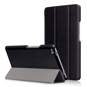 Tri-fold Flip Stand Leather Accessory Casing for Lenovo Tab4 8 TB-8504F/N - Black