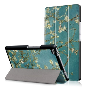 For Lenovo Tab 4 8 TB-8504F/N Patterned Leather Tri-fold Stand Cover - White Flowers