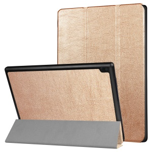 Tri-fold Leather Stand Tablet Cover Protector for Lenovo Tab 4 10 - Gold