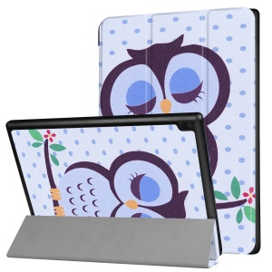 Pattern Printing Tri-fold Stand Leather Casing Case for Lenovo Tab 4 10 Plus - Owl Napping on Branch