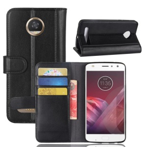 Genuine Split Leather Wallet Phone Cover Case with Stand for Motorola Moto Z2 Play - Black
