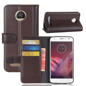 For Motorola Moto Z2 Play Genuine Split Leather Wallet Mobile Phone Shell with Card holders - Brown