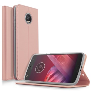 Magnetic Flip Card Slot PU Leather Phone Cover for Motorola Moto Z2 Force - Rose Gold
