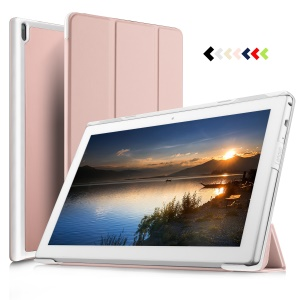 Tri-fold Flip Stand Smart Leather Shell for Lenovo Tab 4 10 Plus - Rose Gold