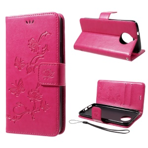 Imprint Butterfly Flowers Magnetic Wallet Leather Stand Cover for Motorola Moto G5S - Rose