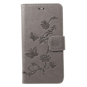 Imprint Butterfly Flowers Magnetic Wallet Leather Stand Shell for Motorola Moto G5S - Grey