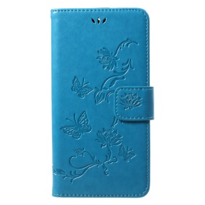 Imprint Butterfly Flowers Magnetic Wallet Leather Cover with Stand for Motorola Moto G5S - Blue