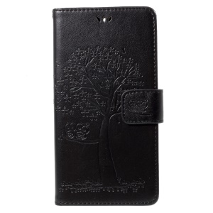 Imprint Tree Owl Magnetic Wallet PU Leather Stand Case for Motorola Moto G5S Plus - Black