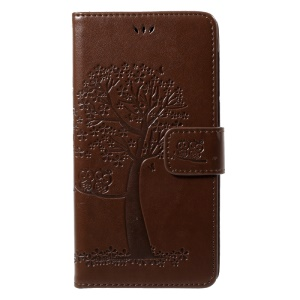 Imprint Tree Owl Magnetic Wallet PU Leather Case with Stand for Motorola Moto G5S Plus - Brown