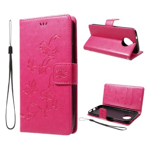 Imprint Butterfly Flowers Magnetic Wallet Leather Stand Cover for Motorola Moto G5S Plus - Rose