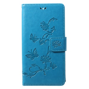 Imprint Butterfly Flowers Magnetic Wallet Leather Stand Cell Phone Shell for Motorola Moto G5S Plus - Blue