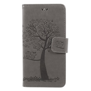 Imprint Tree Owl Magnetic Wallet PU Leather Stand Shell for Motorola Moto G5S - Grey