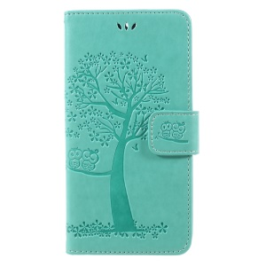Imprint Tree Owl Magnetic Wallet PU Leather Stand Cell Phone Cover for Motorola Moto G5S - Green