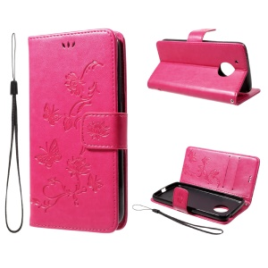 Imprint Butterfly Flowers Magnetic Wallet Leather Stand Cover for Motorola Moto G5 - Rose