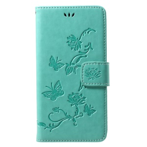 Imprint Butterfly Flowers Magnetic Wallet Leather Stand Cell Phone Shell for Motorola Moto G5 - Green