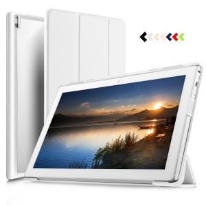 For Lenovo Tab 4 10 Tri-fold Stand Smart Leather Phone Casing - White