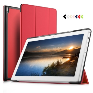 for Lenovo Tab 4 10 Tri-fold Stand Smart Leather Phone Case - Red