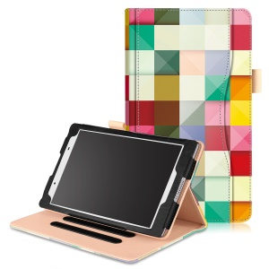 Pattern Printing Wallet Leather Stand Casing for Lenovo Tab4 8 TB-8504F/N - Colorful Triangle Grid