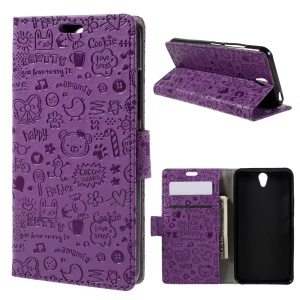 Cartoon Graffiti Wallet Leather Stand Case for Lenovo Vibe S1 - Purple