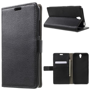 For Lenovo Vibe S1 Litchi Skin Wallet Leather Stand Case - Black