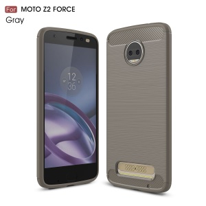 Carbon Fiber Texture Brushed TPU Mobile Phone Cover for Motorola Moto Z2 Force - Grey