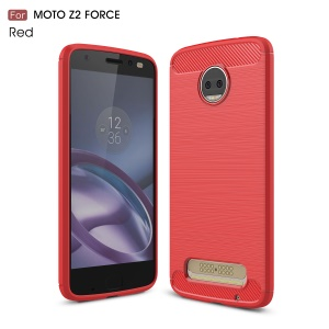 Carbon Fiber Texture Brushed TPU Mobile Phone Shell for Motorola Moto Z2 Force - Red