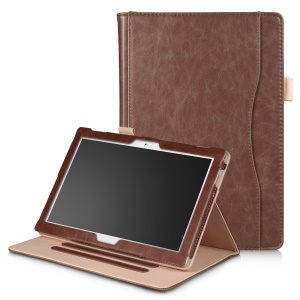 Elastic Band Pocket Front Smart Leather Stand Cover for Lenovo Tab 4 10 / 10 Plus - Brown